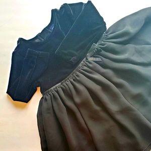 Black velvet/chiffon dress